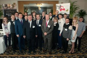 Brend Hotel apprentices with Peter Brend Junior, Peter Brend Senior, Matthew Brend and Andrew Mosedale in the foreground