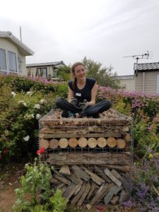 Laura completes her bug hotel